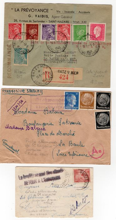 France 1944/1945 - 3 Atlantic pocket covers.