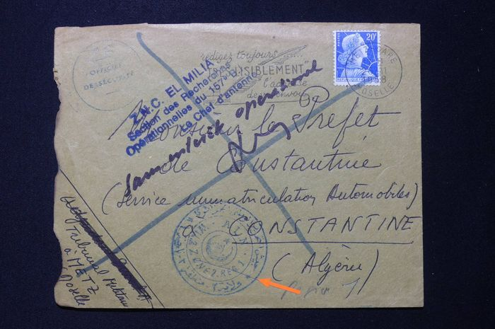 France - Envelope from letters stolen by the FLN during the Algerian War - 1958 - Rare