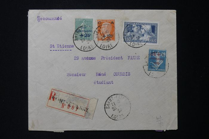 France - Registered envelope for St Etienne postmarked with the 1st series of 'Caisse
