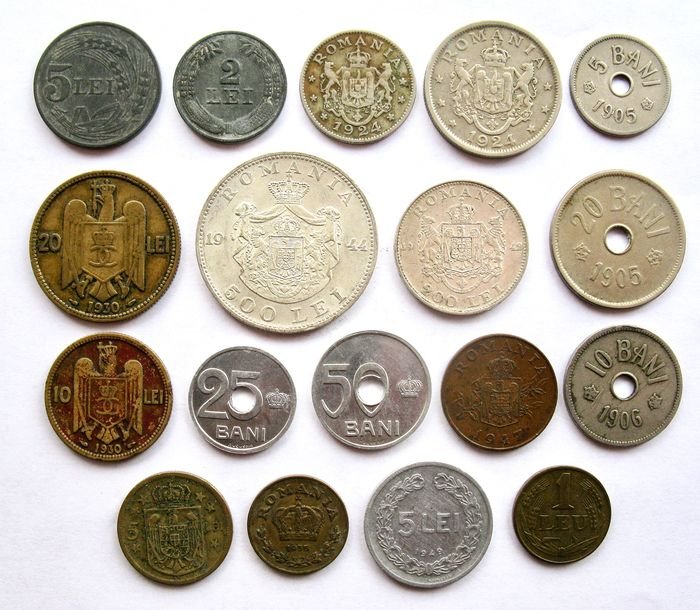Romania. Type collection 5 Bani up to and including 500 Lei 1905/1947 (18 different coins) incl. 2 x silver ones