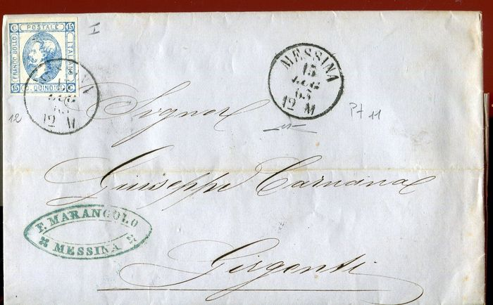 Italy Kingdom 1863 - Letter, 15 cents lithographic from Messina to Girgenti - Sassone N. 12