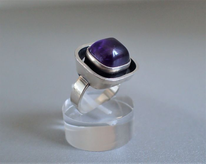 Design ring met Amethist cabochon - 925 Silber - Ring