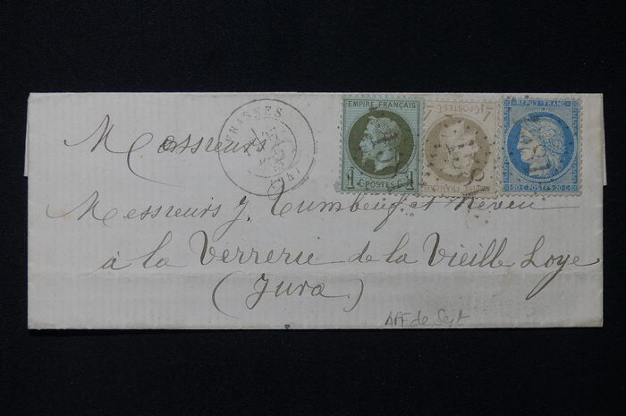 Frankrijk - Cover from December 1871 with three-coloured franking (missing stamp of 25 centimes).