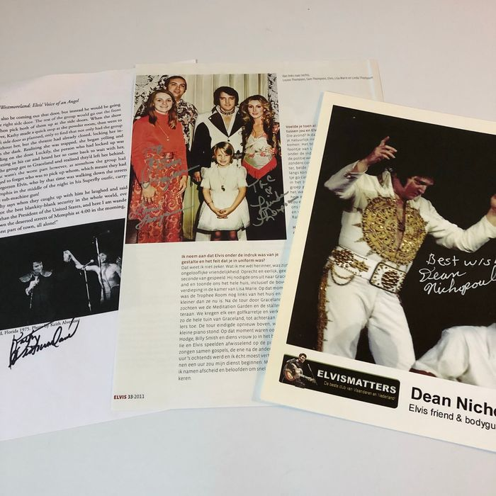 Elvis Presley - 4 original autographs from Elvis' people - Ondertekende memorabilia (originele handtekening) - 2000/2000