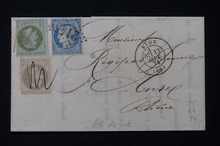 France - Cover from September 1871 with three-coloured franking, including a No. 27, cancelled by hand, Lyons