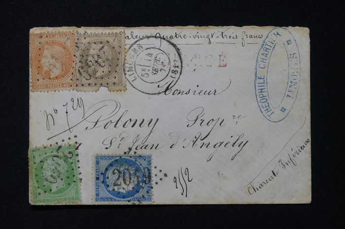 Frankrijk - Registered cover from September 1871 with four-coloured franking, from Limoges bound for
