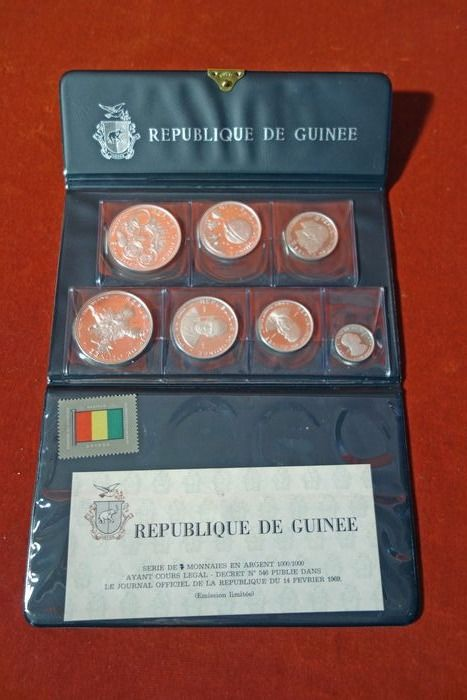 Guinee. 100 + 200 + 250 + 500 Francs 1969 Proof Commemorative (7 pieces) in set
