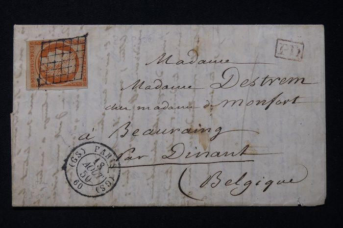 Frankrijk - Letter from Paris bound for Belgium with the 40 centimes orange (Yvert 5) from the first issue.