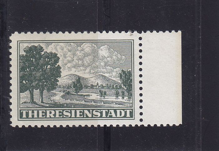 Bohemen en Moravië - Theresienstadt: Admission stamp for parcels, right margin piece, certificate from Paetowk - Michel Z 1