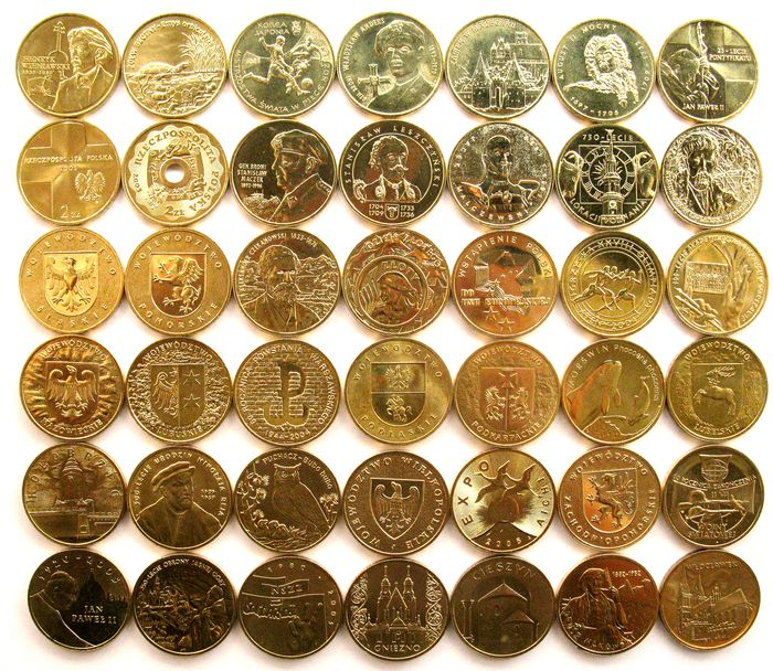 Pologne. 2 Zlotych 2001/2005 (42 different coins) all high grades - nordic gold