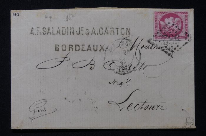France - Bordeaux, 80 centimes pink (Yvert 49), alone on a letter from April 1871 from Bordeaux bound for