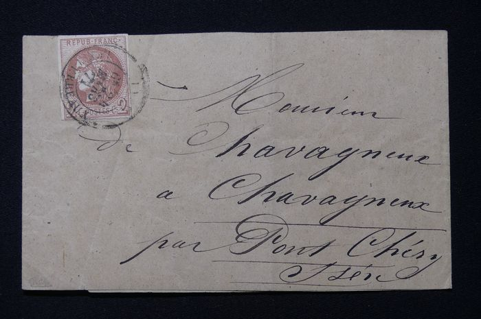 Frankrijk - Bordeaux, 2 centimes brown red, transfer 2 (40 B) alone on strip for printed matter, 24 March 1871.