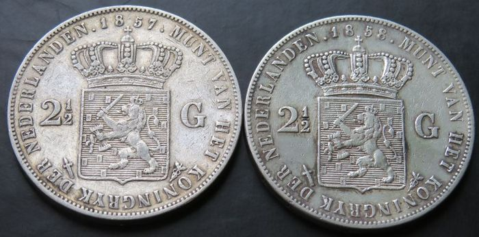 Netherlands. Willem III (1849-1890). 2 1/2 Gulden 1857 en 1858