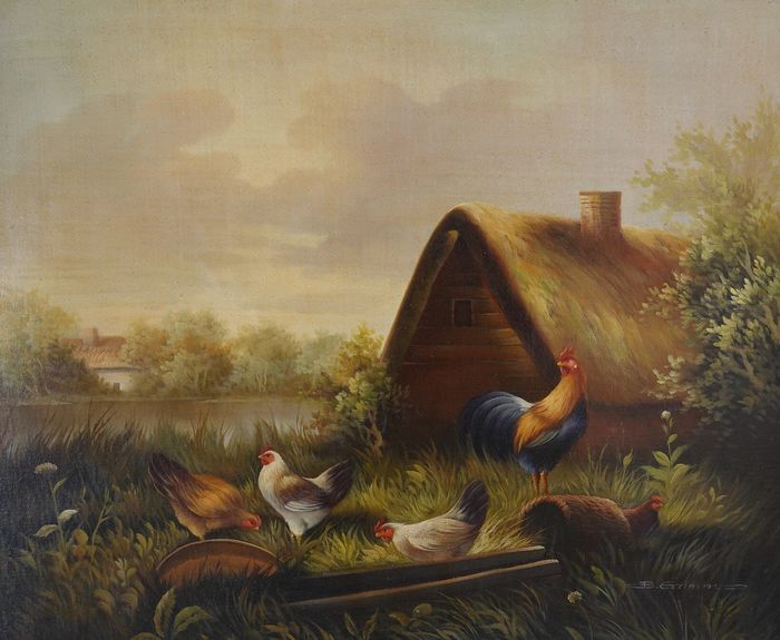 B Grimm. (XX) - Rural landscape with barn and chickens