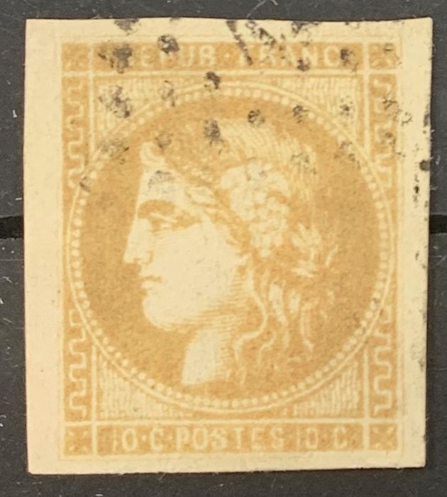 France 1871 - 10 cents LEMON bistre-yellow, Bordeaux issue, superb and signed CALVES - Yvert 43Bc