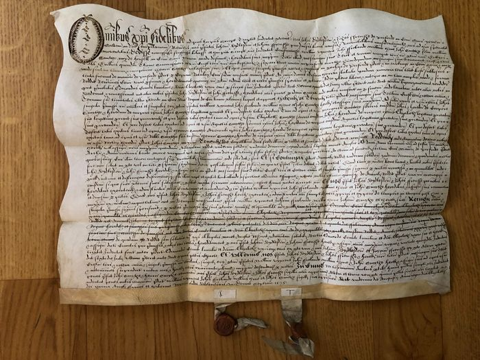 Elizabethan - Vellum Conveyance John Didlesdon to Vincent Regarding Lands at Purford in Trust for John Smith - 1575