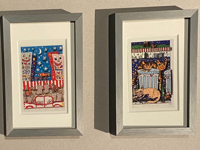 """James Rizzi (1950-2011) - """"ALLEY CATS"""" & """"CAT ON A CAN""""- original ACME trading cards - framed"""