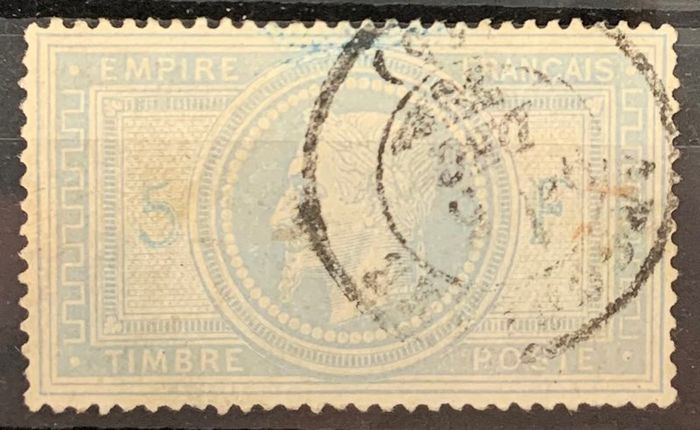 Frankrijk 1869 - 5 Francs Empire with laurel wreath perforated, thinned but VF appearance, a very nice opportunity! - Yvert 33