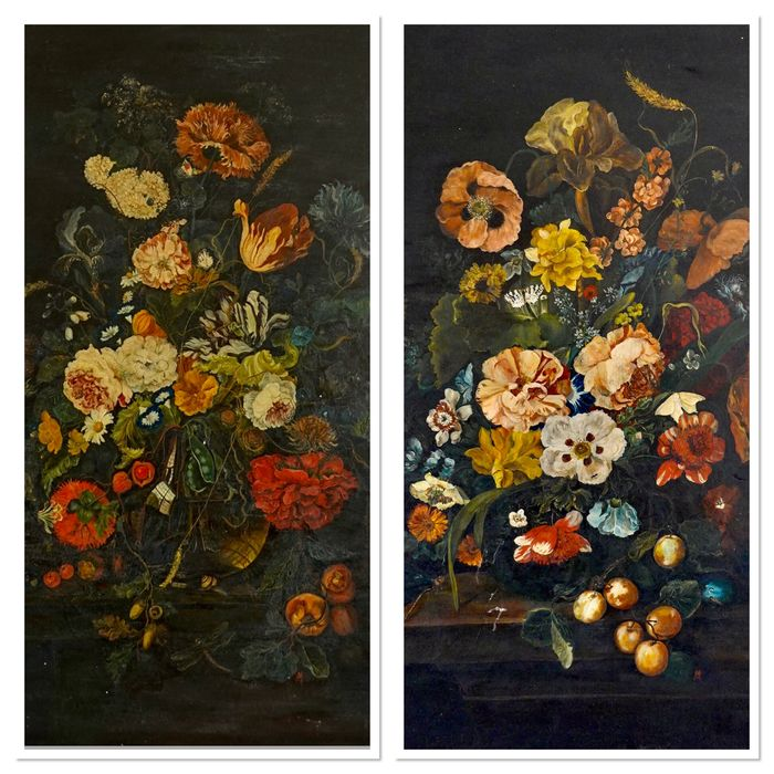 Continental school. (XIX/XX) - A pair of still lifes of a vase of flowers