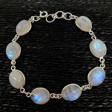 MOON STONE BRACELET. (Good Quality) 925 Sterling Silver. Handmade. - 11.1 g