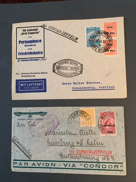 Brazilië - 2 zeppelin letters 1931, LZ 127, Sieger 130A and 130 B