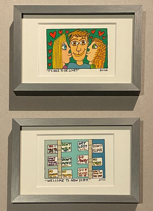 James Rizzi (1950-2011) - WELCOME TO NEW YORK & ITS NICE TO BE LOVED - original lithographs - framed