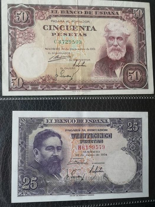 Spain - 40 banknotes - Various dates