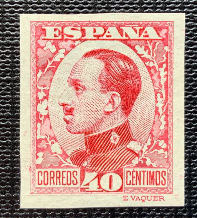 Spain 1930/1931 - Alfonso XIII colour error 40 cts, imperforated, Graus report - Edifil 497scc