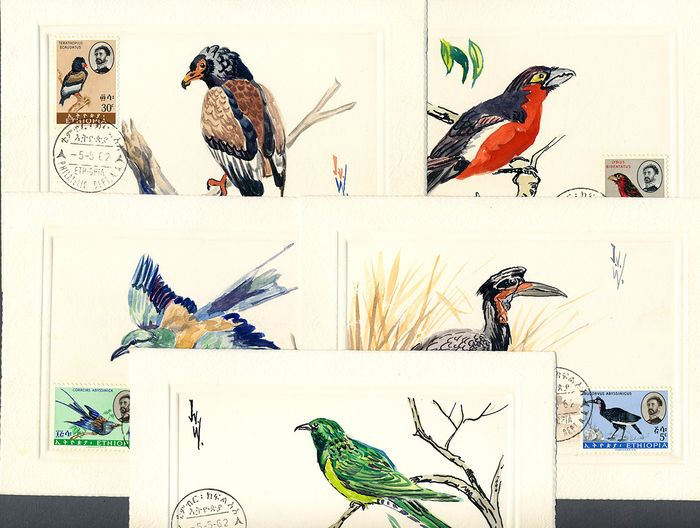 "Ethiopia 1962 - Lot with 5 original drawings ""Birds"", signed - Michel 425-429"