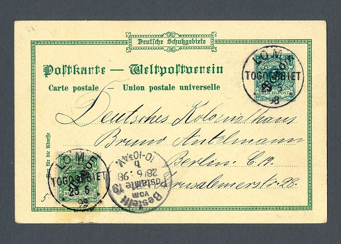 """Duitse Koloniën - Togo 1898 - Postal stationery """"Gruss aus Togo"""" (Greetings from Togo) from LOME to Berlin"""