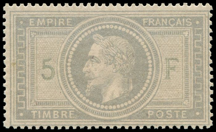 France 1871 - 5 francs purple-grey, perfect gum with a minute trace of hinge. Very fresh and VVF. C - Yvert 33