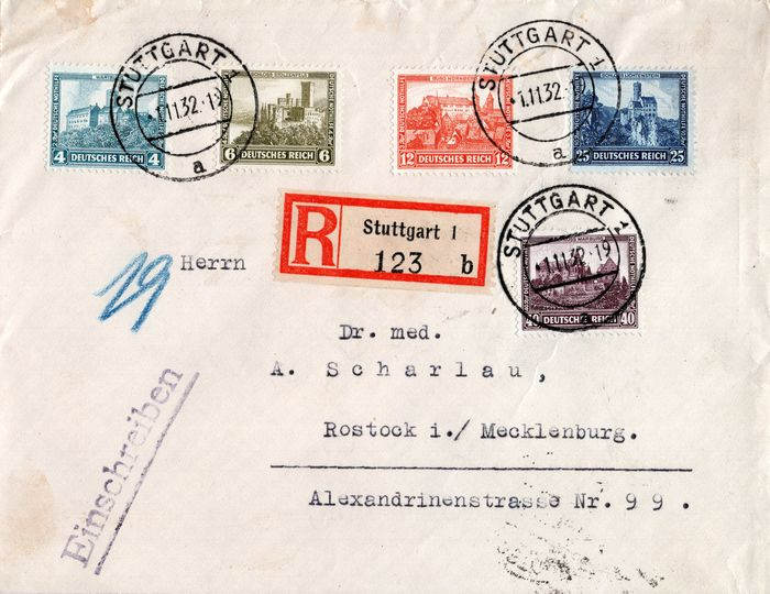German Empire 1932 - German emergency aid on a registered postal item with a First Day Cancellation Nrs. 474/478