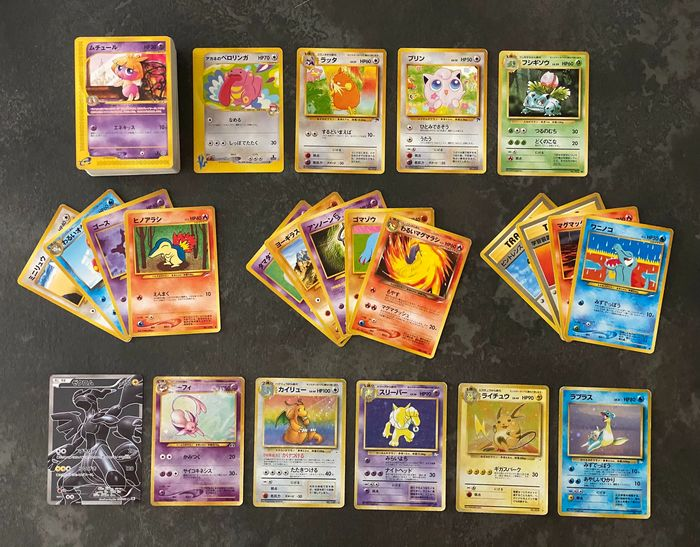 Pokemon - About 150 loose stickers from 1996 to 2010 - HOLO Espeon, Dragonite, Raichu, Zekrom Full Art - Fossil, Neo Discovery, Neo Destiny, Southern Island, Black & White, Vs and 1 Edition Japanese cards - 1996