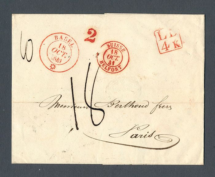 Zwitserland 1841 - Prephilately document from BASEL to Paris