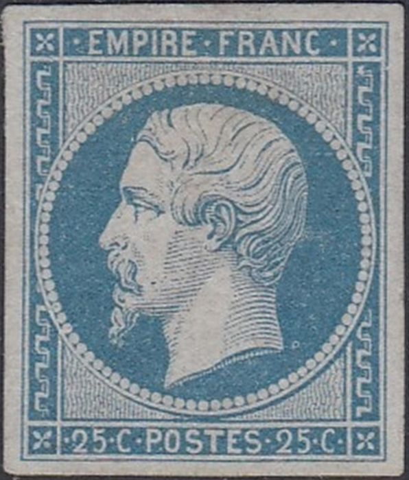 France 1853 - Napoleon III, imperforate, 20 centimes blue. - Yvert 15