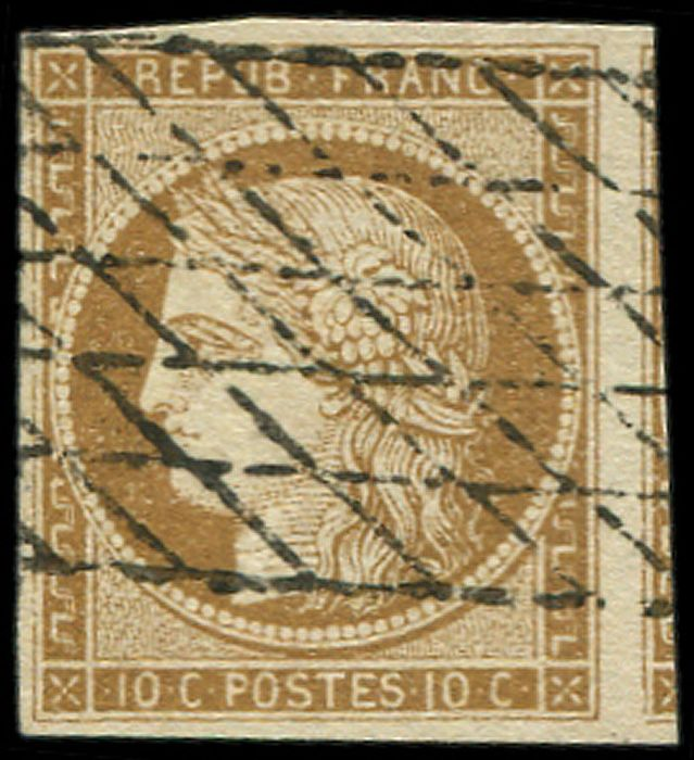 Frankrijk 1849 - 10 centimes bistre-yellow,  endless grid cancellation. VVF - Yvert 1