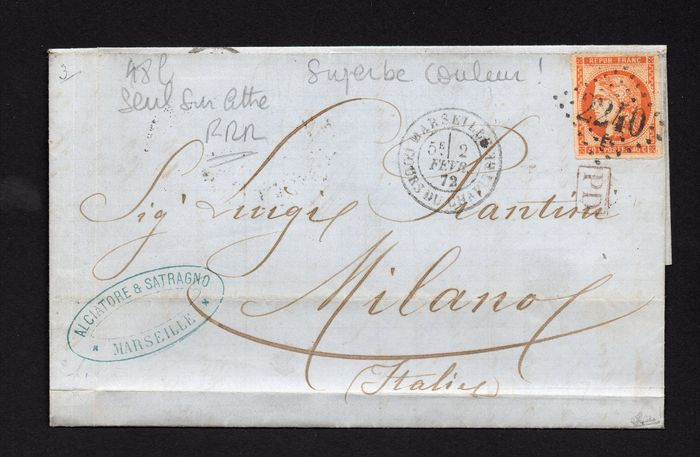 Frankrijk - Sublime and extremely rare 48l - 4 wide - alone on letter with 4 lovely margins and mint. Value: - Maury Maury 48o / Yvert 48L
