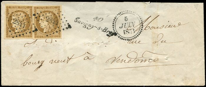 """France 1849 - 10 centimes bistre-brown  pair, cancellation  """"PC 2844"""" on  cover,  Cursive """"40/Savigny-s-Braye"""" and - Yvert 1a"""