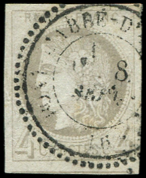 """France 1876 - 4 centimes grey,  R II, cancelled, """"T24"""" date stamp, light but otherwise VF. - Yvert 41B"""