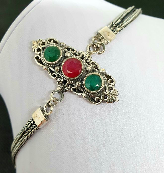 Birthstone of March-EMERALD AND RUBY BRACELET .. 925 Sterling Silver. - 17.1 g