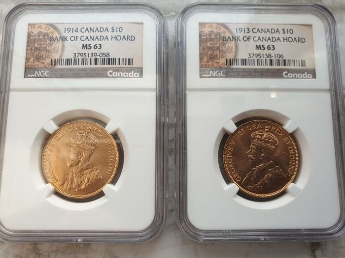 Canada. 10 Dollars 1913 + 1914 George V in MS63 NGC Slab (2 pieces)