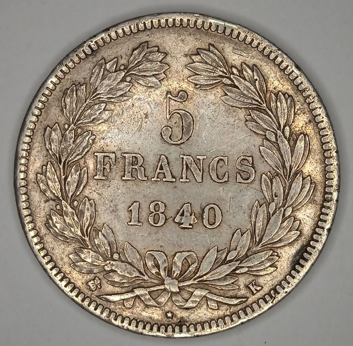 France. Louis Philippe I (1830-1848). 5 Francs 1840-K, Bordeaux