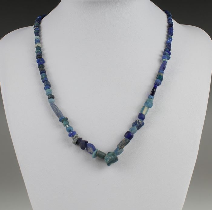 Ancient Roman Glass and stone beads Blue necklace - 0×0×420 mm - (1)