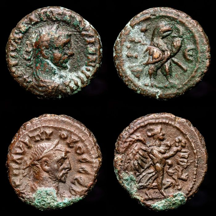 Egypt. Alexandria. Probus (AD 276-282). Lot comprising 2 BI Tetradrachms,  Year L-Є. Eagle and Nike advancing right, holding wreath and palm