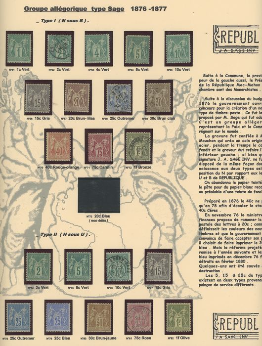 Frankrijk 1876/1977 - A very lovely complete set of classic Type Sage stamps, Types I and II... Value: over 10,000. - Yvert Entre les n°61 et 82