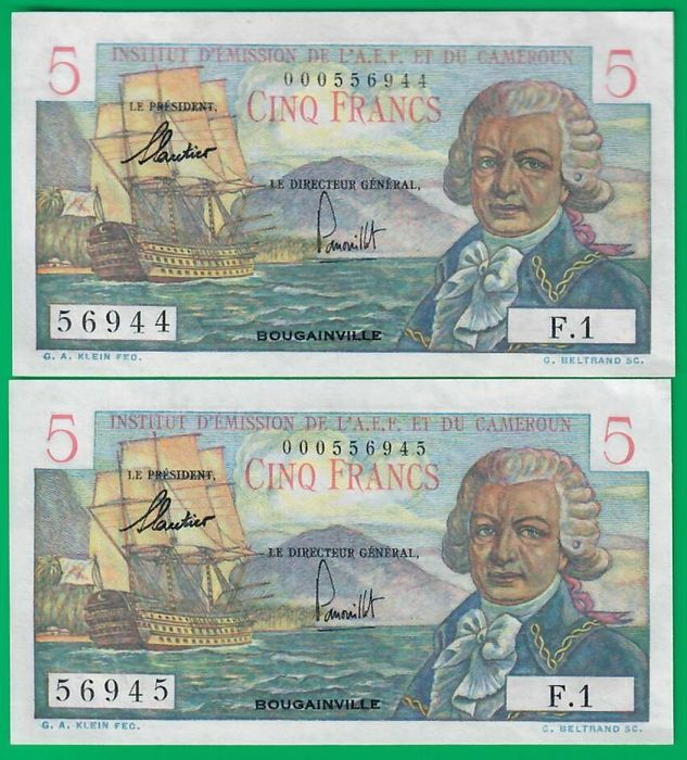 French Equatorial Africa - 2 x 5 Francs 1957 - Pick 28 - consecutives
