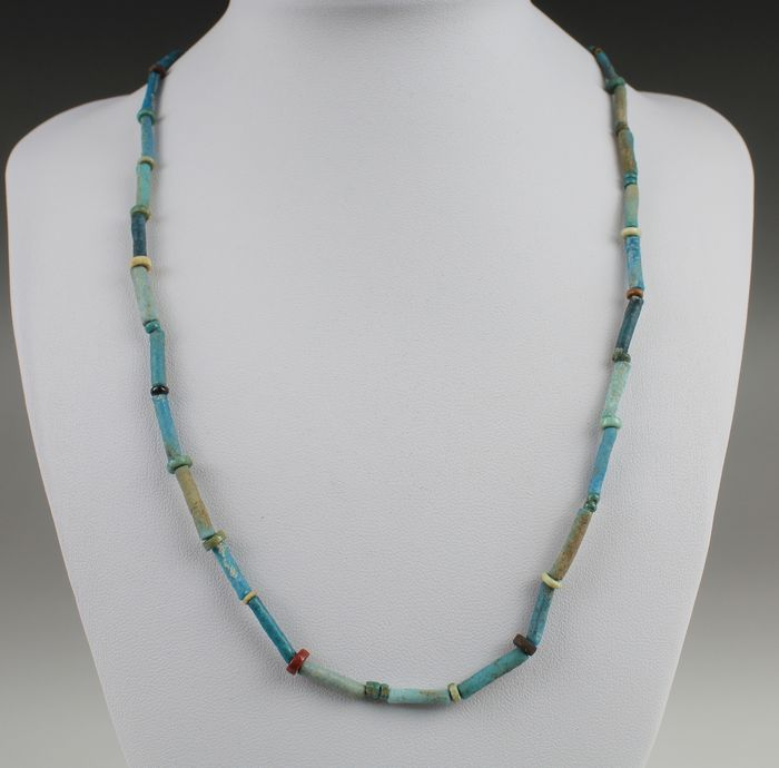 Ancient Egyptian Faience Necklace - 0×0×480 mm - (1)