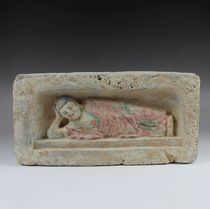 Ancient Chinese, Wei Dynasty Terracotta Brick with a reclining Buddha - 175×345×0 mm - (1)