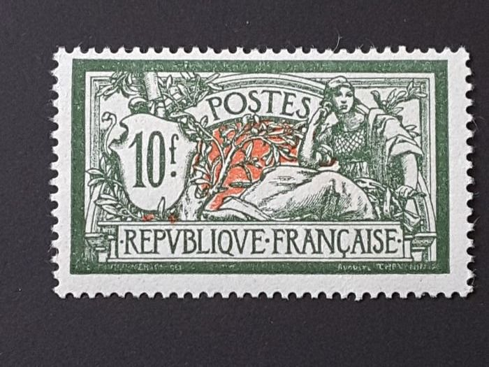 France 1925/1926 - Type Merson, 10 francs green and red. - Yvert 207