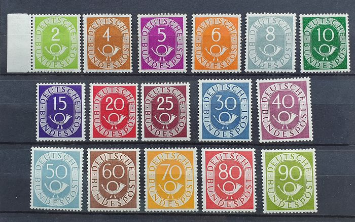 Germany - Federal Republic 1951 - Set 'Post horn' Michel 128/138